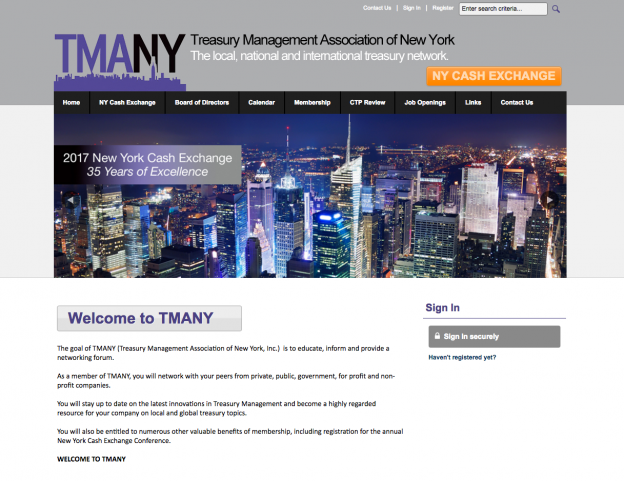 Treasury Management Association of New York Website | RadsickAdGroup